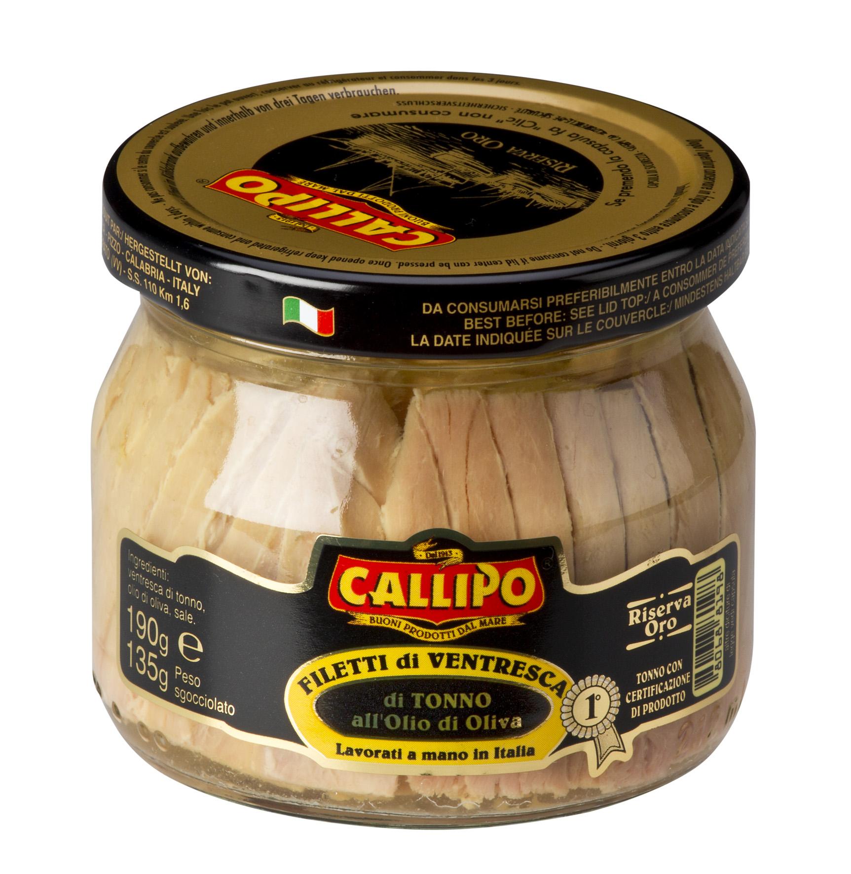 Ventresca di tonno yellowfin all'olio d'oliva 200 g Glas Callipo