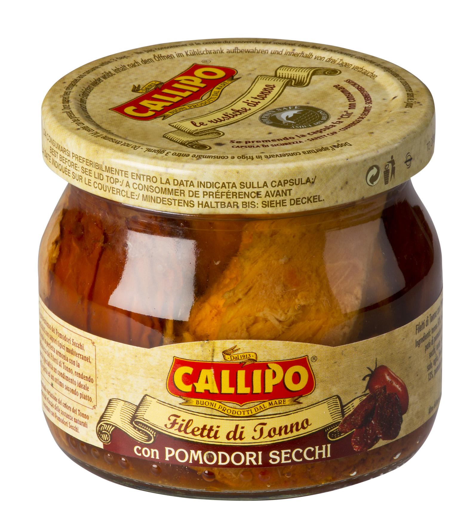 Filetti di tonno Yellowfin con pomodori secchi 200 g Glas Callipo