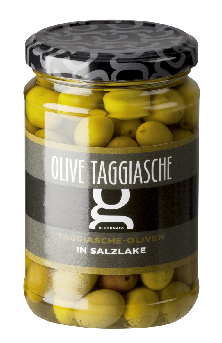 Olive Taggiasche in salamoia 314 ML Glas DIGE Taggiasche-Oliven in Salzlake