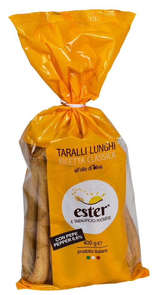 Taralli lunghi con pepe, 400 g Ester