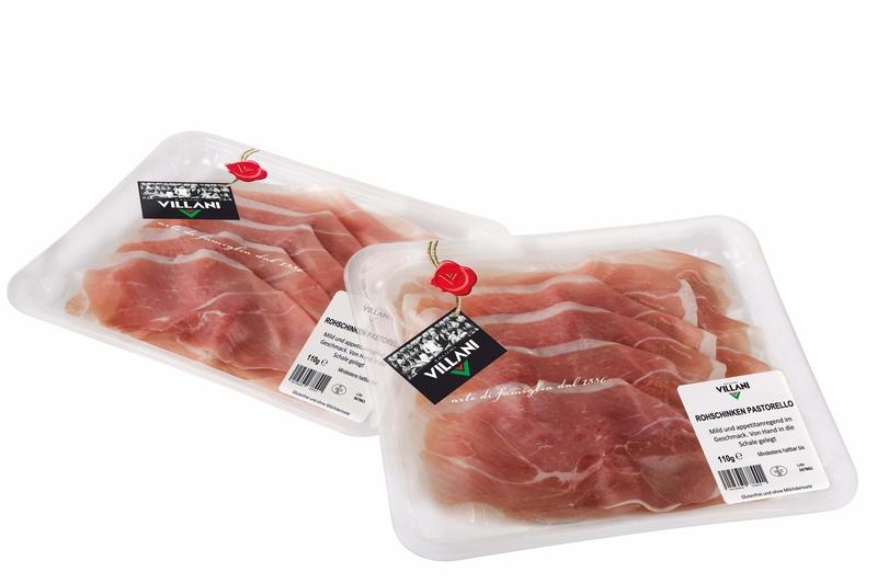 """Pastorello"" prosciutto crudo affettato 110 g Schale Villani  ( Kühlartikel)"