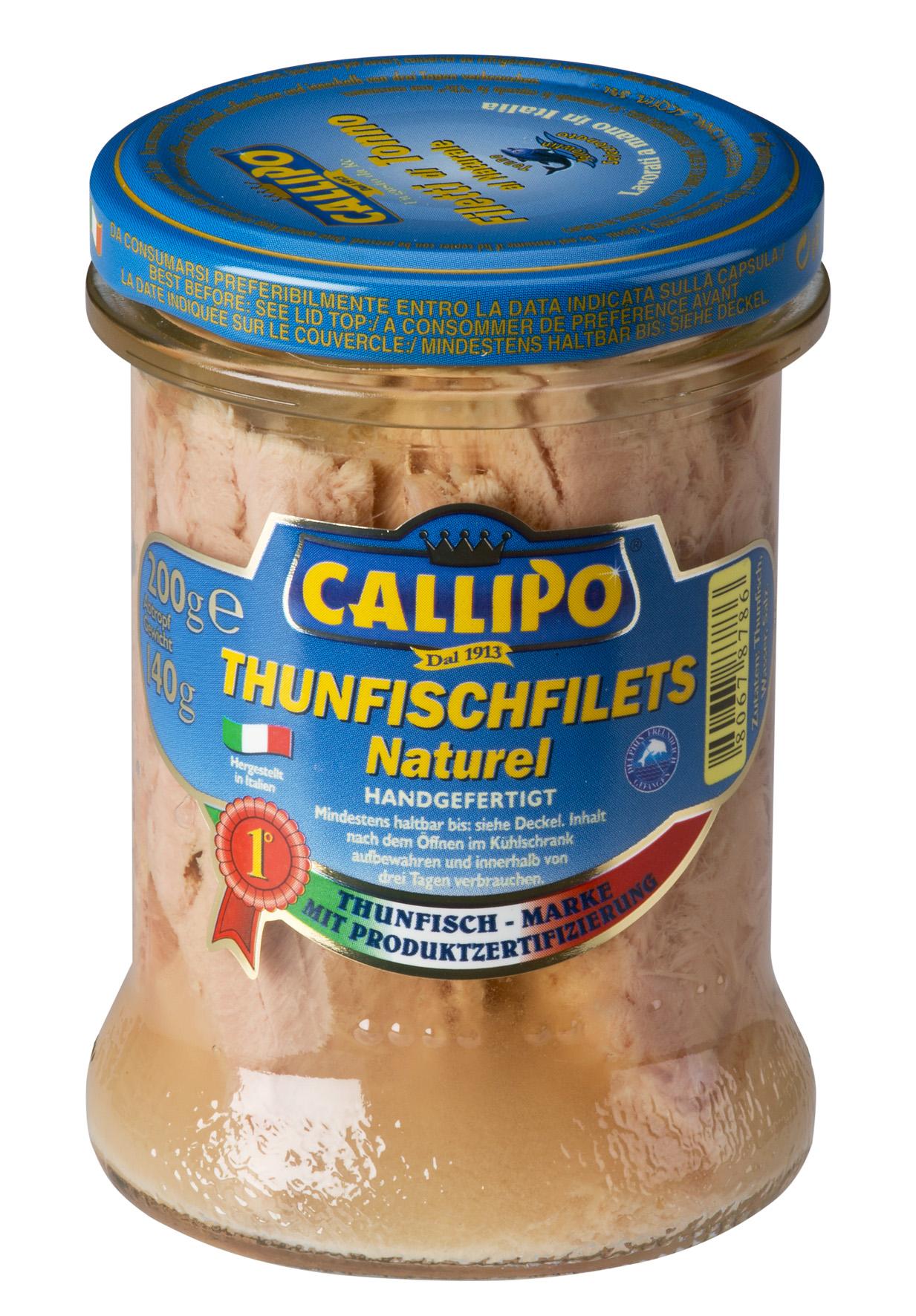 Filetti di tonno Yellowfin al naturale 170 g Glas Callipo