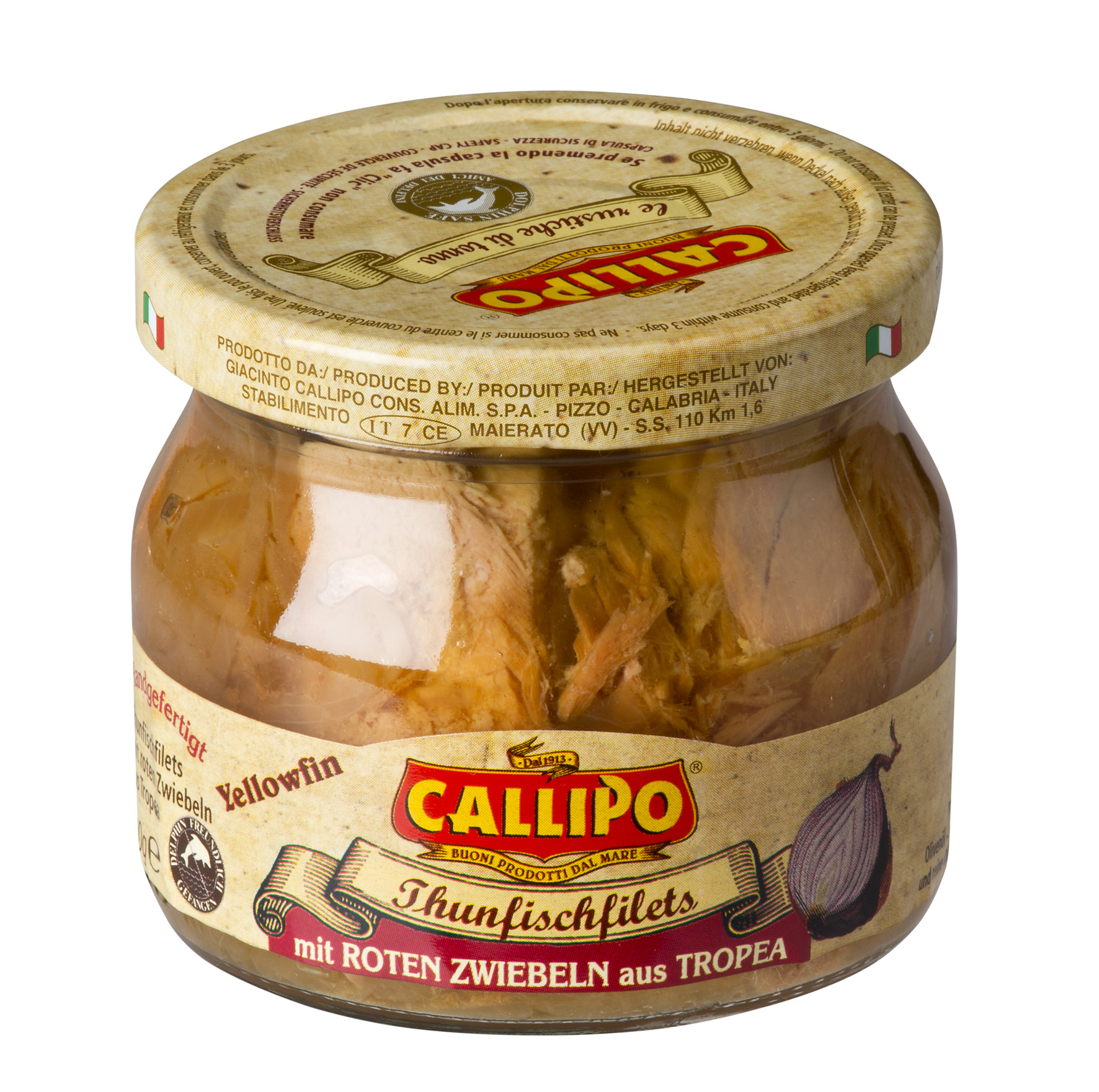 Filetti di tonno Yellowfin con cipolla rossa 200 g Glas Callipo