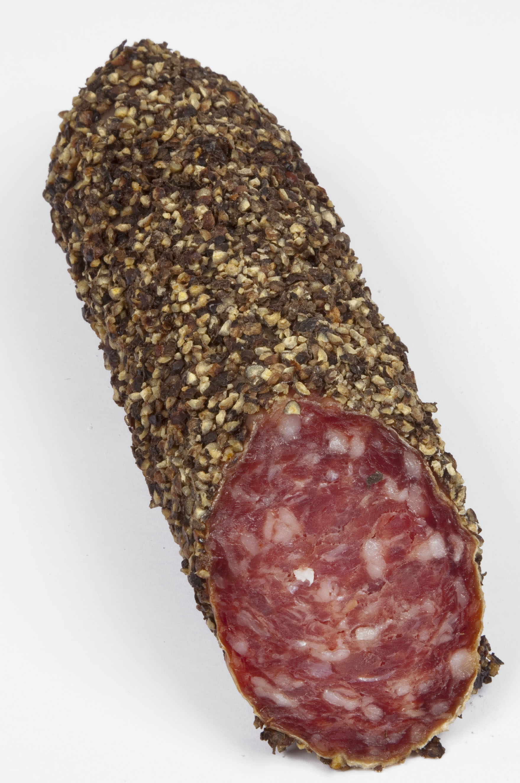 Salame di Cinghiale con pepe 600 gr. Renzini Wildschweinsalami mit Pfeffer überzug  ( Kühlartikel)
