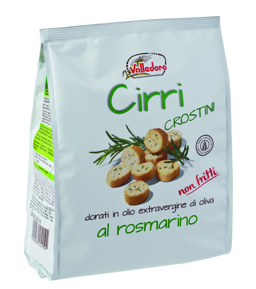 """Cirri"" crostini con rosmarino, 200 g Beutel Valledoro"